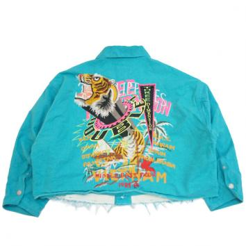 【doublet/ダブレット】CHAOS EMBROIDERY SILK DUCK CUT OFF JACKET【B.GREEN】