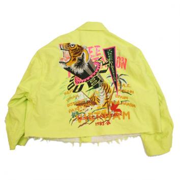 【doublet/ダブレット】CHAOS EMBROIDERY SILK DUCK CUT OFF JACKET【YELLOW】