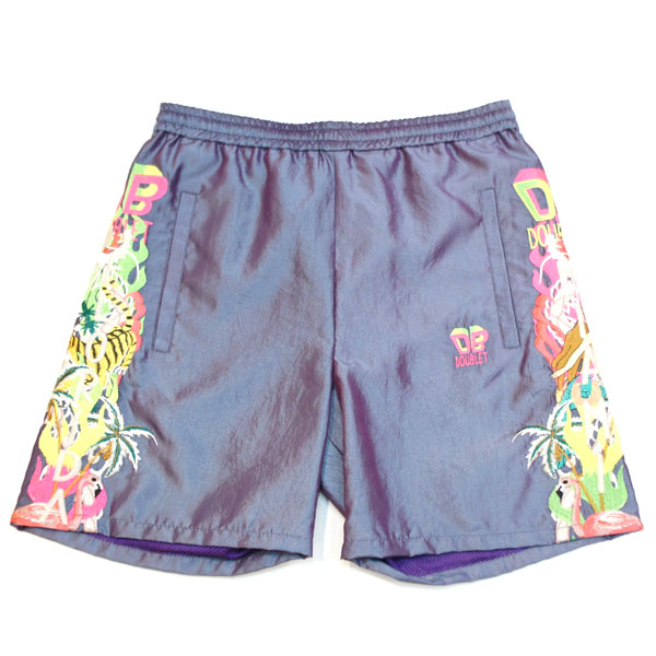 【doublet/ダブレット】CHAOS EMBROIDERY CHAMBRAY SHORT PANTS【PURPLE】