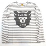 【HUMAN MADE-ヒューマンメイド】BORDER OVER PRINT LS Tシャツ【STRMCWBY】