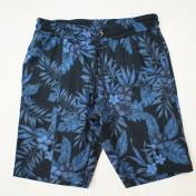 【AKM-エーケーエム】swing easy shorts tropical print cotton【NAVY】