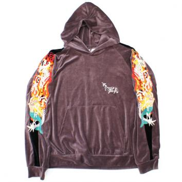 【doublet/ダブレット】CHAOS EMBROIDERY TRACK HOODIE【PURPLE GREY】