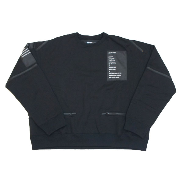 【TheSoloist-ソロイスト】back zip crew neck l/s sweatshirt【BLACK】