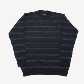 【Rags McGREGOR-ラグスマックレガー】BORDER CREW NECK KNIT【BLK】