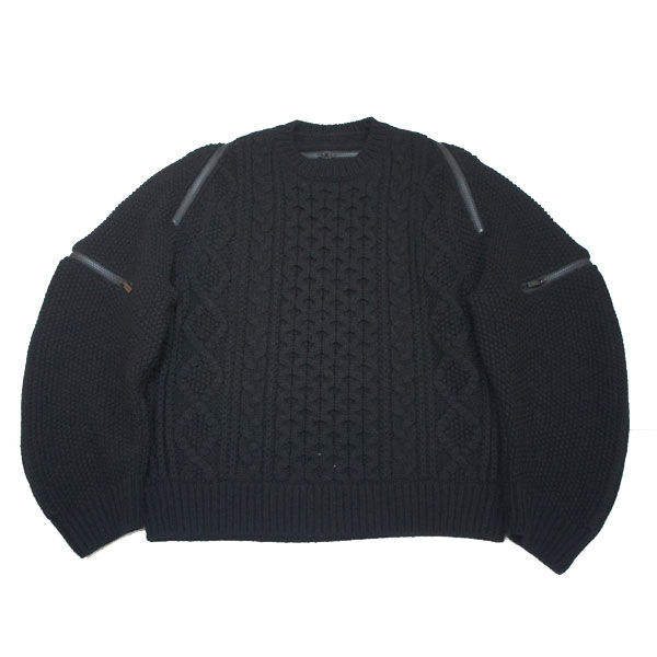 【TheSoloist-ソロイスト】balloon sleeve back zip crew neck sweater【BLK】