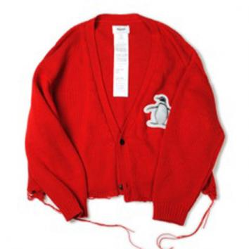 【doublet/ダブレット】3D PATCH CUT-OFF CARDIGAN【RED】