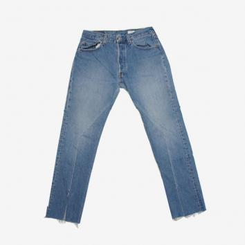【OLD PARK】SLIT JEANS (M)-B-【BLUE】